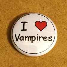1 Inch I Heart Love Vampires Button Pin Pinback