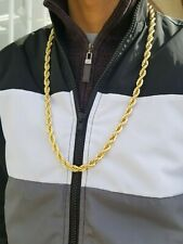 """Rope Chain 30"""" Inch  10 mm Gold Finish Twisted Heavy Dookie Hip Hop Necklace"""