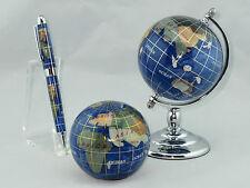 Genuine Multi-Gemstone Desktop Globe, Paper Weight, & Pen Set - Navy Blue-Chrome