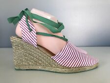 Gap Wedge Sandals Lace Up Round Toe Pink Green Womens 9
