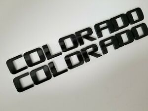 2pc BLACK COLORADO FIT Chevy DOOR EMBLEM Chevrolet NAMEPLATE BADGE DECAL NAME