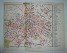 1901 VICTORIAN SMALL COLOUR MAP OF BERLIN AND ENVIRONS GERMANY