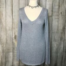 Beautiful Silver OASIS Satin Back Jumper Size XS (10)