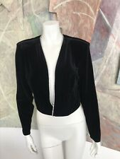 Vintage Onyx Nite Wendye Chaitin Black Open Front Velvet Rhinestone Shell Top XL