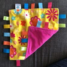 Taggies Yellow Flowers  Pink Baby Lovey Security Blanket Taggies HTF