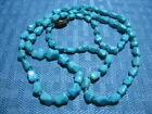 Vintage Chinese Export Silver Clasp Turquoise Bead Nugget Bead Necklace Marked