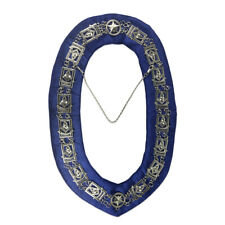 Masonic Blue Lodge Metal Sun Silver Chain Collar & Velvet Backing