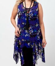 Was $129! BNWT Taking Shape Size 18 Sea Change Tunic Sheer Blue & Floral Print