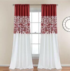 Lush Decor 16T001375 Estate Garden Print Curtains Room Darkening Window Panel...