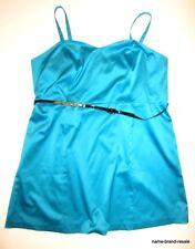 LANE BRYANT NWT Womens PLUS 28 4X Aqua Satin Tank DRESS Knee Length A-Line Flare
