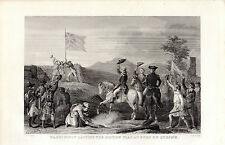 WASHINGTON RAISING THE BRITISH FLAG, FORT DU QUESNE - STEEL PRINT- McCABE (1887)