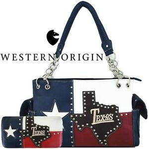 The Lone Star Flag of Texas Women Handbag Leather Concealed Carry Purse / Wallet