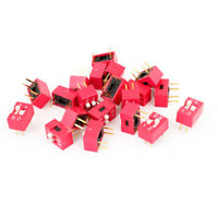 20PCS Electronic Components 2 Ways Double Rows Slide Type DIP Switch Red