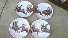Williams Sonoma Set or 4 ~ 2011 Santa And His Reindeer Salad Plates