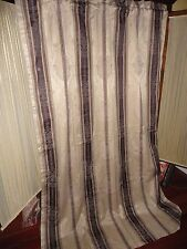LEES CURTAIN MARQUIS BROWN BLUE PAISLEY STRIPE (1) LINED PANEL 52 X 80