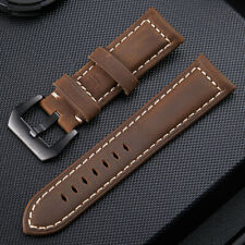 Watch Band Crazy Horse Cowhide Genuine Leather Wristwatch Strap Band 20-26 Brown