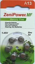 ZENIPOWER (60 QTY) Size A13/D6 Power 1.45v Mercury Free Hearing Aid Batteries
