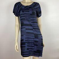 Veronika Maine Women's Lightweight Silk Summer Blue Black Dress Size 8 ~A7
