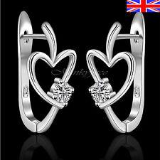 Ladies 925 Silver Heart Hoop Earrings Crystal Girls Free Gift Bag