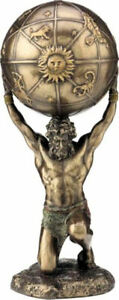 Atlas, the Greek Titan Carrying the World Cold Cast Bronze Statue 21cm/8.2inches