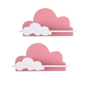 2 x Cloud Shelves for Nursery Or Bedroom - Pair of Handmade Kids Nursery Shelves
