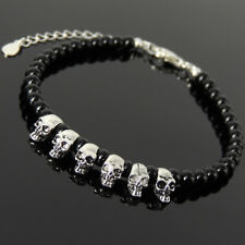 Men's Women Bracelet 4mm Black Onyx Sterling Silver Skull Beads Clasp Link 1300