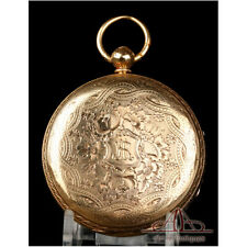 Gorgeous Antique English Lever-Fusee Pocket Watch. 18K Gold. England, 1874
