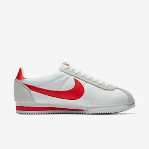 NIKE CLASSIC CORTEZ NYLON WHITE AND RED SNEAKERS 807472-101 (NEW)