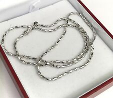 18k Solid White Gold Shiny Italy Beaded Chain Necklace, 18 Inches, 5.51 Grams