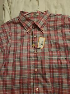 Peter Millar Men's Dress Shirt Pink Plaid XL NWT