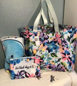 Vera Bradley Lighten Up Large Family Tote Beach Towel Wristlet Marian Floral