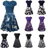 Women Short Sleeve Cross V- Neck Vintage Elegant A-Line Flared Casual Cozy Dress