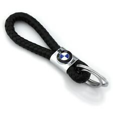 Braided Leather Black Cord Key Chains Car Logo Holder Silver Key Ring for BMW