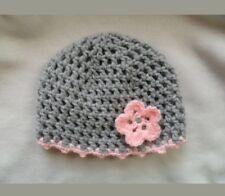 Süßes Häkel Baby Mützchen Grau rosa > 36 cm ♥♥♥Fotoshooting Geburt neu Handmade