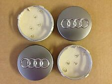 4 X Audi Centro Tapas 60mm Rueda De La Aleación Centro Insignias Q7 S3 S4 A3 A4 A6 A8 Tt