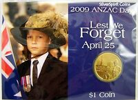 2009 $1 ANZAC DAY LEST WE FORGET Coin on Card