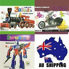 3 sets 3D Foam Paper Model Puzzle Transformers Motorcycle Train  GPUZZ0102+03+05