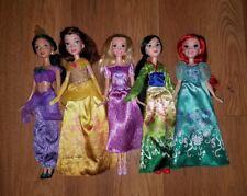 DISNEY Princess Barbie Dolls Lot of 5 Jasmine Belle Rapunzel Mulan Ariel