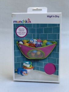 NEW Munchkin High'n Dry Corner Bath Organizer Toy Drying Mesh Storage Baby Pink