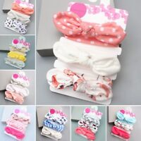 3 Pcs Newborn Headband Cotton Elastic Baby Print Floral Hair Band Girls Bow-knot