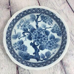 """Porcelain Bowl Blue & White Oriental Floral Design - 8"""" / Decorative"""