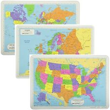 Painless Learning Educational Placemats Sets World USA and Europe Maps Non Slip