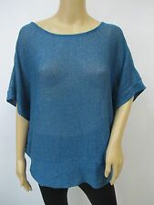 Glitterscape Sweater Knit Teal Shimmer Cocoon Sweater Top Sz M Butterfly Sleeved