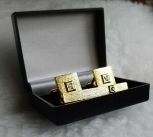 Textured Gold Tone With Faceted Glass Cufflinks & Tie Clip