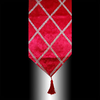 SHINY RED THICK VELVET CROSS SILVER DECO TASSELS WEDDING BED TABLE RUNNER CLOTH