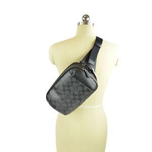 NWT Coach Graham Utility Logo Pack Sling Bag in Charcoal/ Black 38749