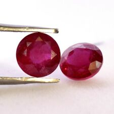Natural Ruby Round Cut Pair 6 mm 2.23 Cts Deep Red Shade Loose Gemstones GF