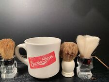 BURMA SHAVE Vintage Mug and 3 Shaving Brushs