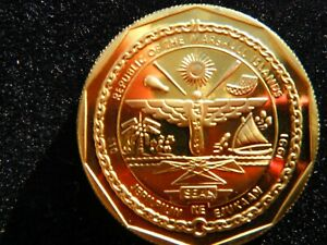 REPUBLIC OF MARSHALL ISLANDS 10 DOLLARS LANCASTER 1991 GOLD TONE COIN-20-