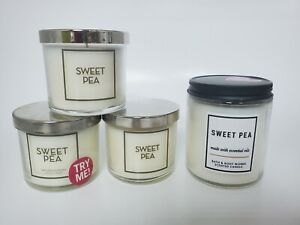 NEW Bath And Body Works Sweet Pea Single Wick Candles 7 Oz Lot of 4